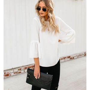 LYDIA White Bell Sleeve Blouse
